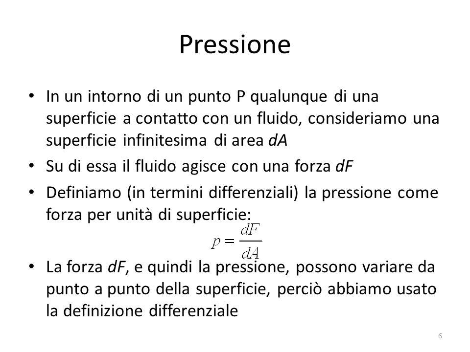 Pressione In un intorno di un punto P qualunque di una superficie a contatto con un fluido, consideriamo una superficie infinitesima di area dA.