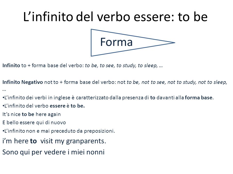 L'infinito del verbo essere: to be