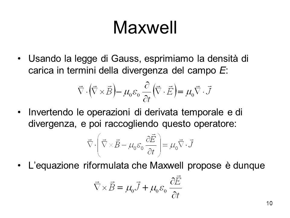 MaxwellUsando la legge di Gauss, esprimiamo la densità di carica in termini della divergenza del campo E: