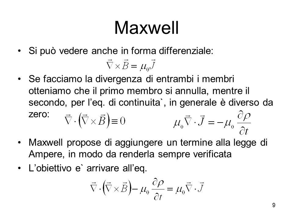 Maxwell Si può vedere anche in forma differenziale: