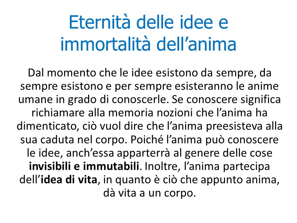 Eternità delle idee e immortalità dell'anima