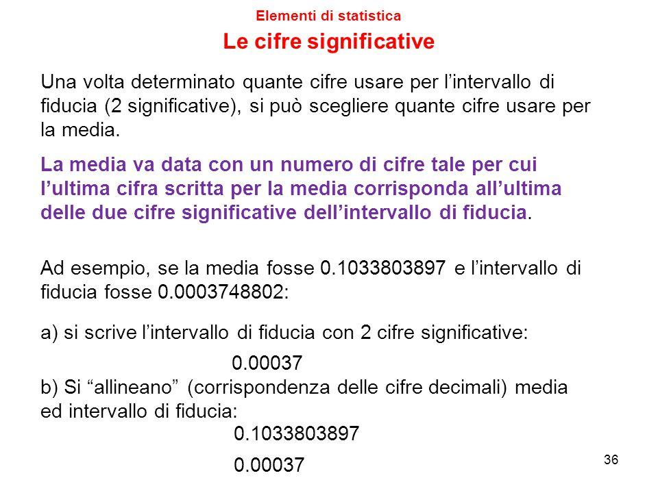 Elementi di statistica Le cifre significative