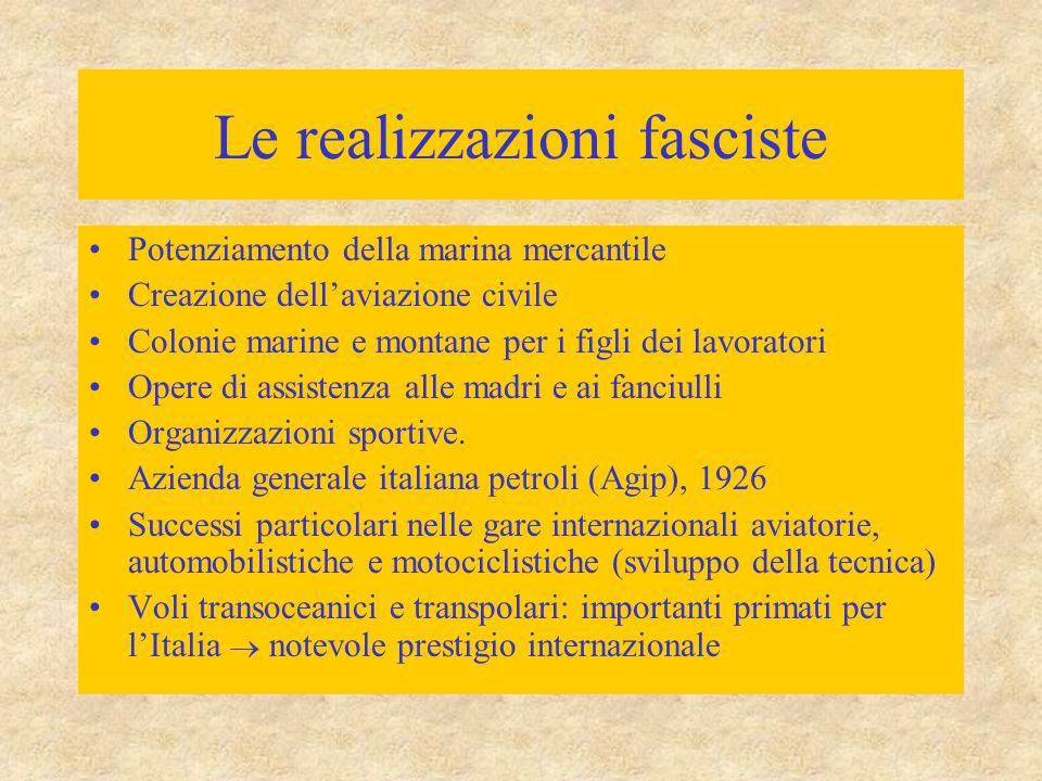 Le realizzazioni fasciste