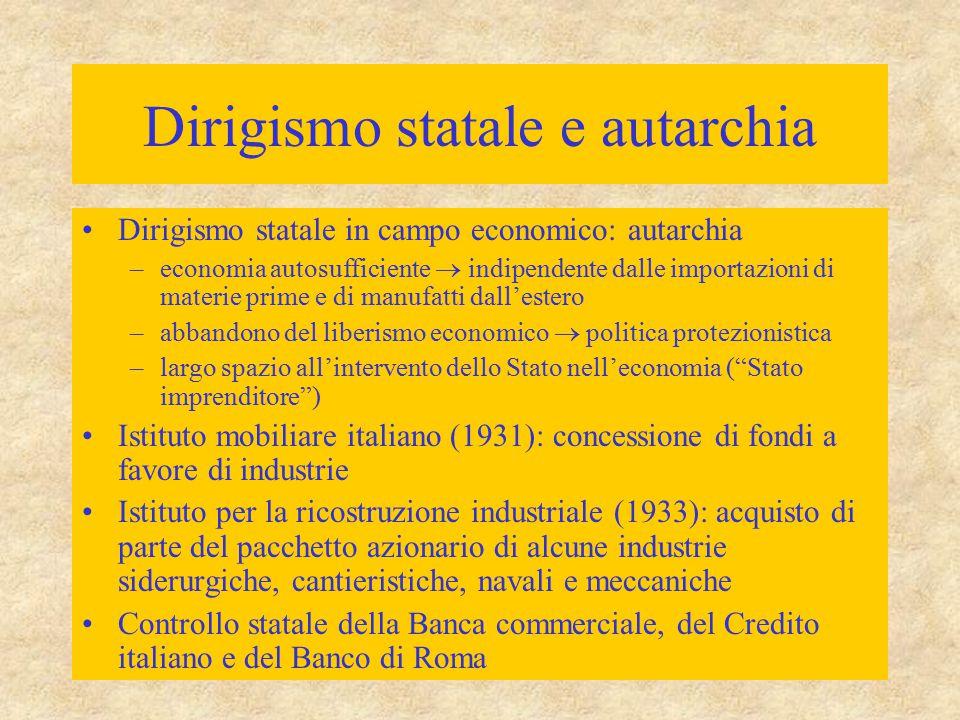 Dirigismo statale e autarchia