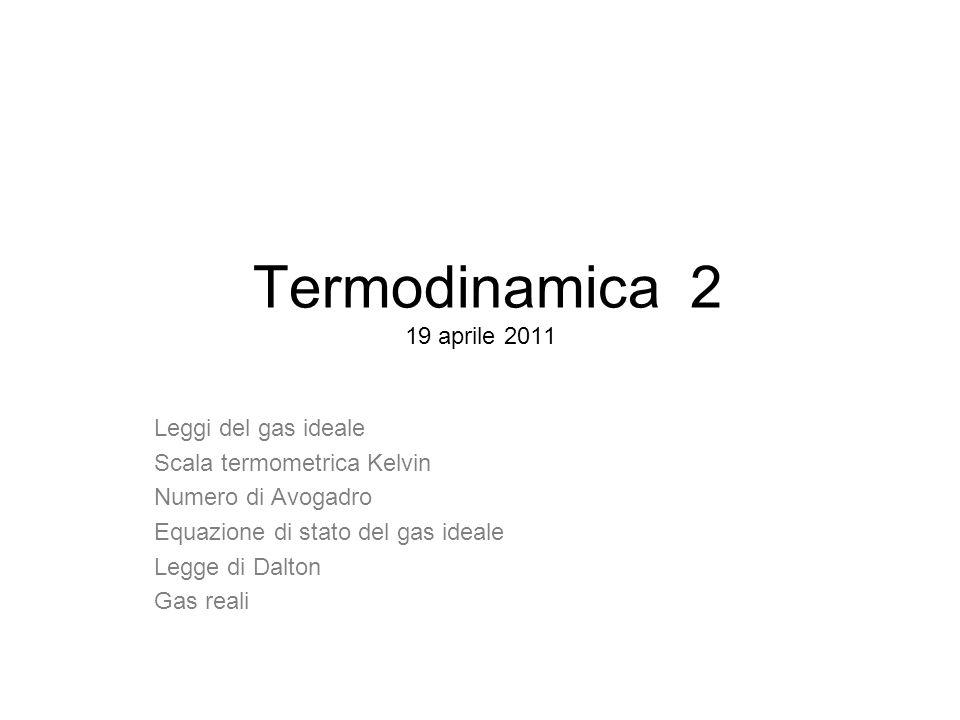 Termodinamica 2 19 aprile 2011 Leggi del gas ideale
