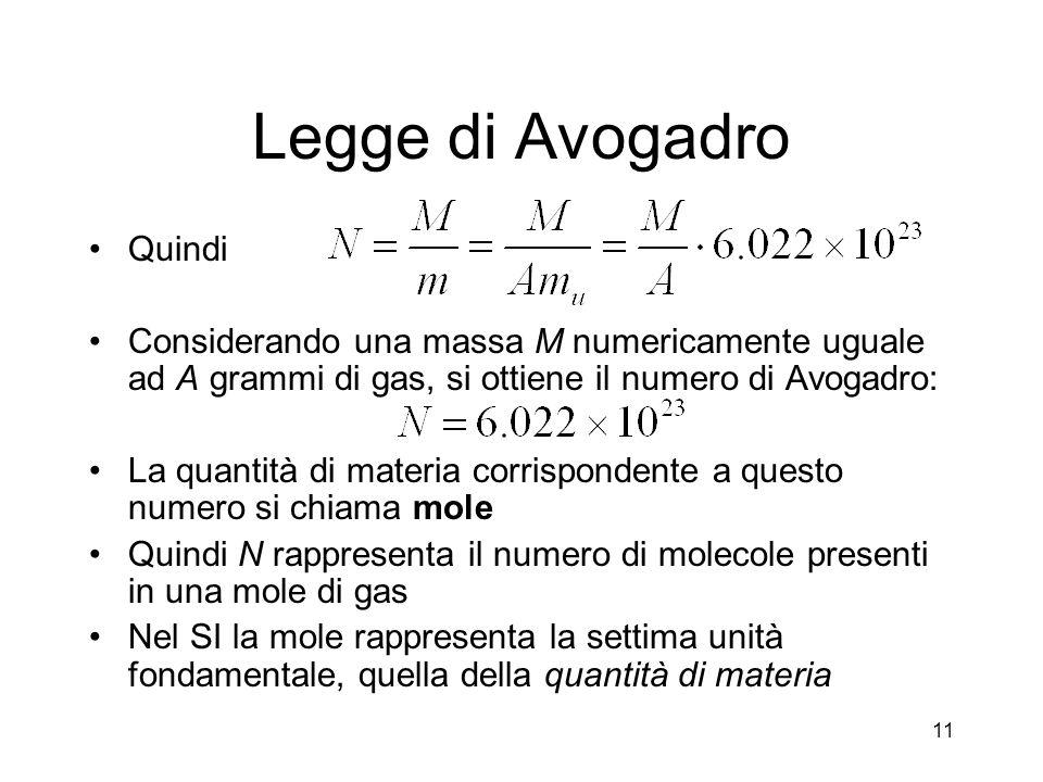 Legge di Avogadro Quindi
