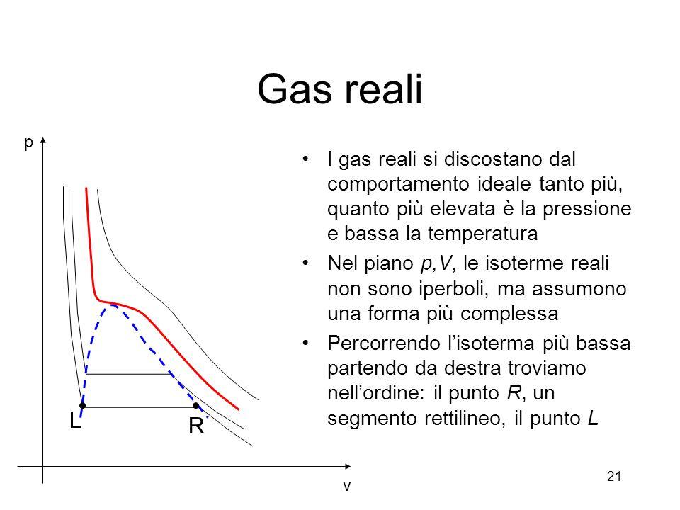 Gas reali v. p. I gas reali si discostano dal comportamento ideale tanto più, quanto più elevata è la pressione e bassa la temperatura.