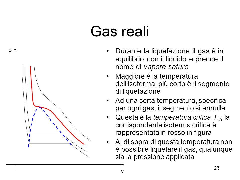 Gas reali v. p. Durante la liquefazione il gas è in equilibrio con il liquido e prende il nome di vapore saturo.