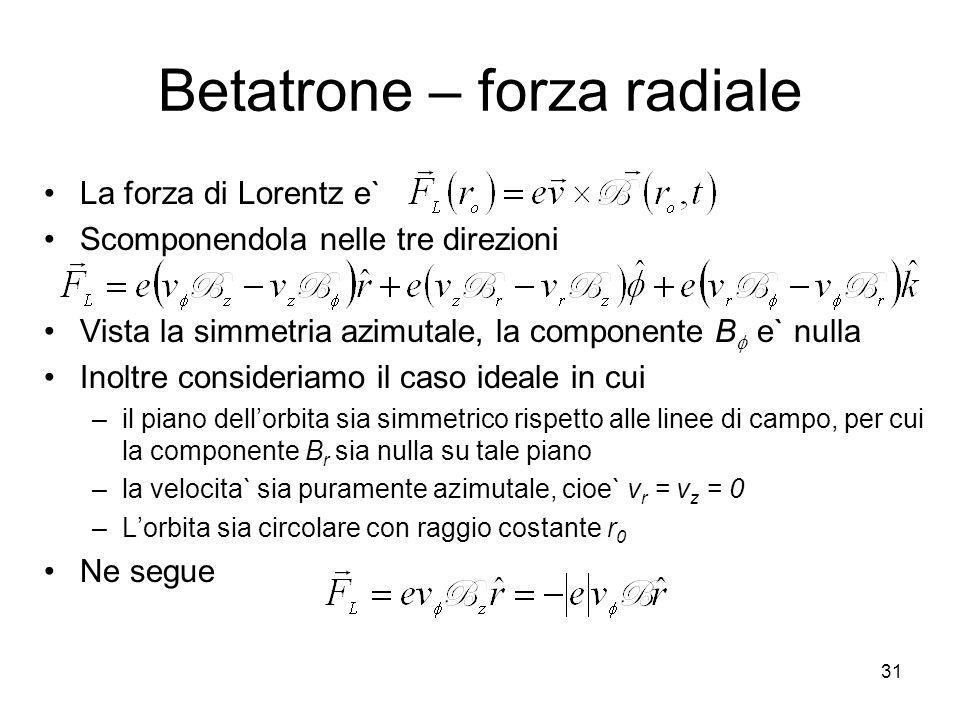 Betatrone – forza radiale