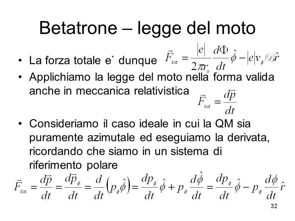 Betatrone – legge del moto
