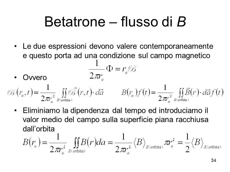 Betatrone – flusso di B Le due espressioni devono valere contemporaneamente e questo porta ad una condizione sul campo magnetico.