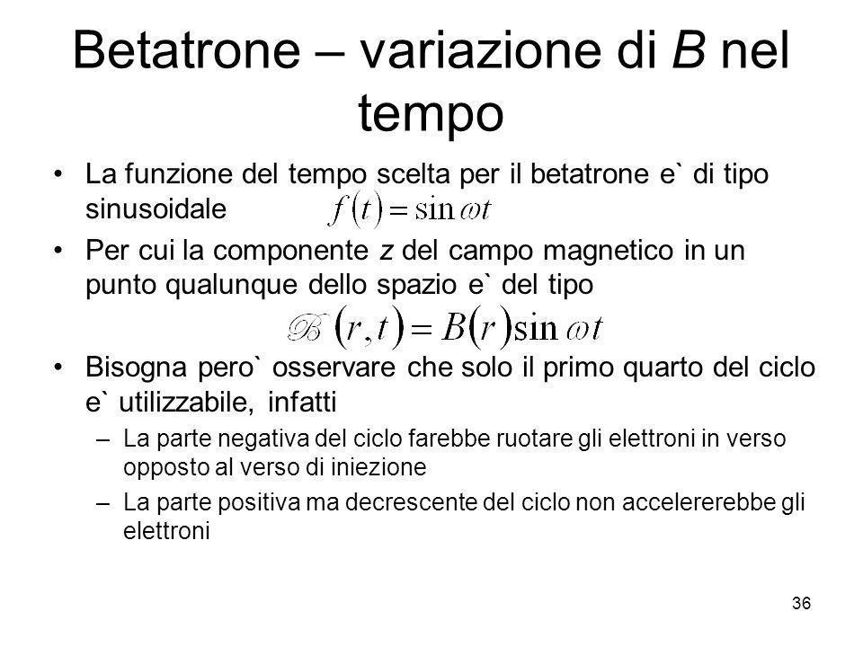 Betatrone – variazione di B nel tempo
