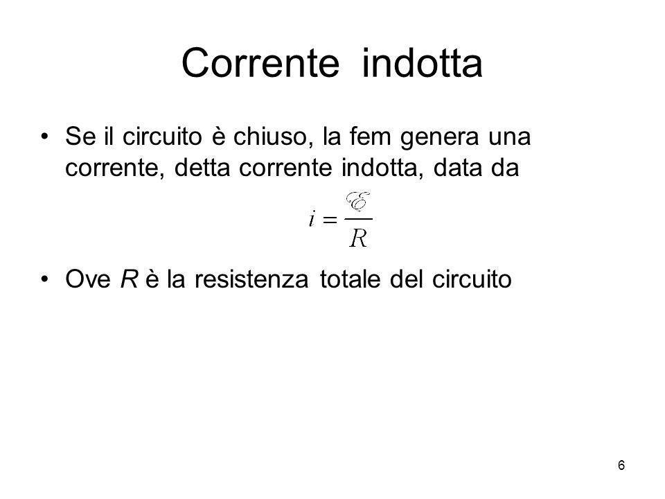 Corrente indotta Se il circuito è chiuso, la fem genera una corrente, detta corrente indotta, data da.