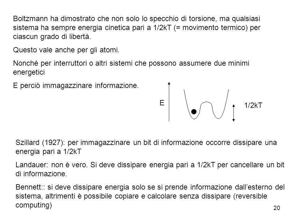 Boltzmann ha dimostrato che non solo lo specchio di torsione, ma qualsiasi sistema ha sempre energia cinetica pari a 1/2kT (= movimento termico) per ciascun grado di libertà.