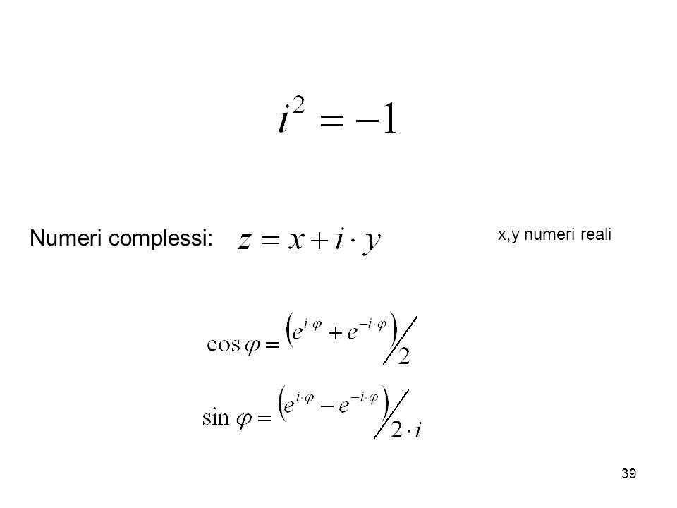 Numeri complessi: x,y numeri reali
