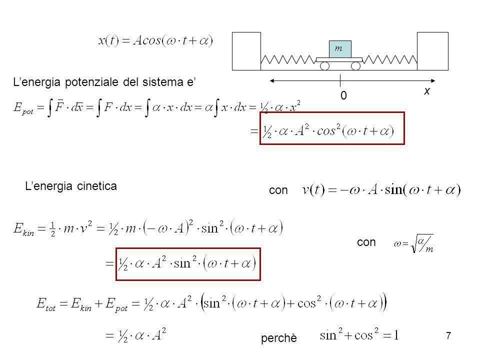 x L'energia potenziale del sistema e' L'energia cinetica con con perchè