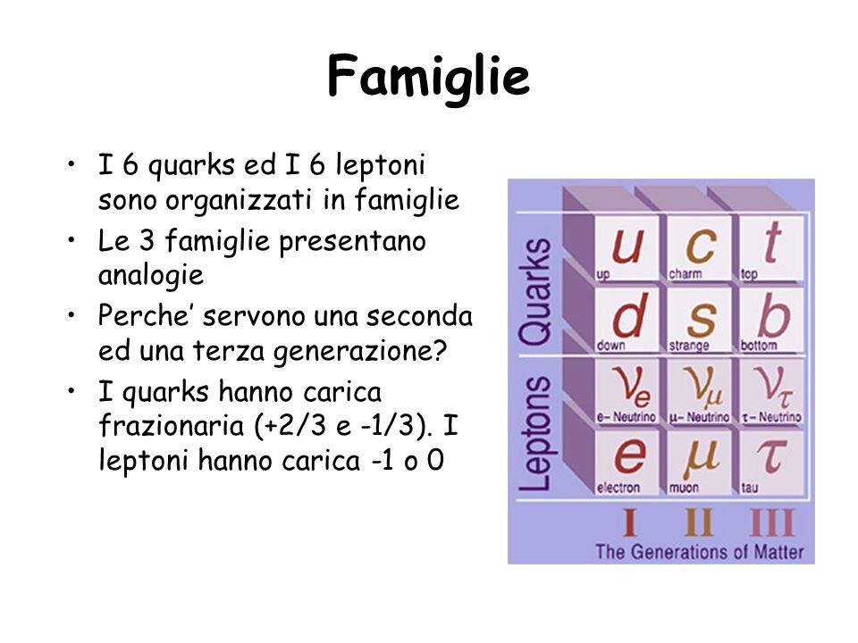Famiglie I 6 quarks ed I 6 leptoni sono organizzati in famiglie