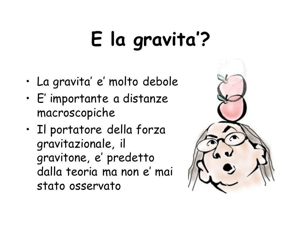 E la gravita' La gravita' e' molto debole