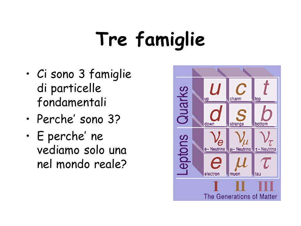 Tre famiglie Ci sono 3 famiglie di particelle fondamentali
