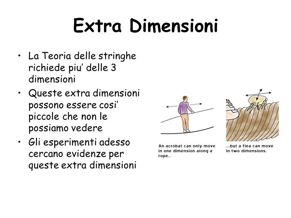 Extra Dimensioni La Teoria delle stringhe richiede piu' delle 3 dimensioni.