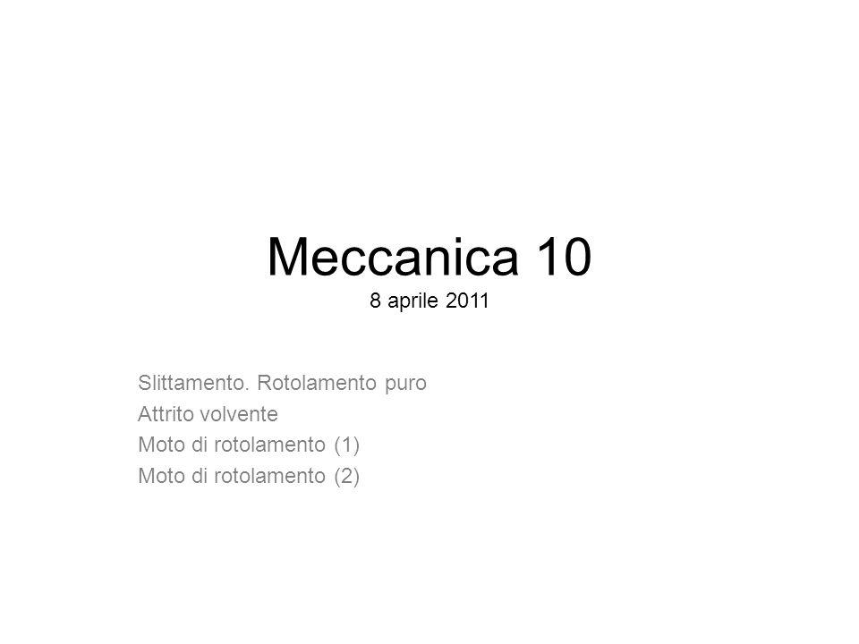 Meccanica 10 8 aprile 2011 Slittamento. Rotolamento puro