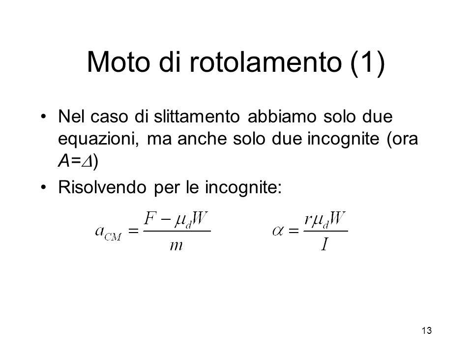 Moto di rotolamento (1) Nel caso di slittamento abbiamo solo due equazioni, ma anche solo due incognite (ora A=D)