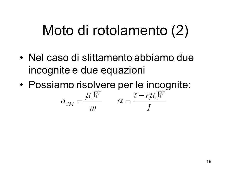 Moto di rotolamento (2) Nel caso di slittamento abbiamo due incognite e due equazioni.