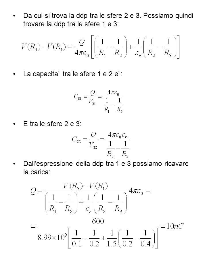 Da cui si trova la ddp tra le sfere 2 e 3