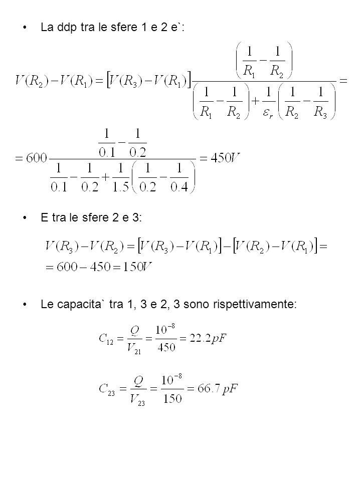 La ddp tra le sfere 1 e 2 e`:E tra le sfere 2 e 3: Le capacita` tra 1, 3 e 2, 3 sono rispettivamente: