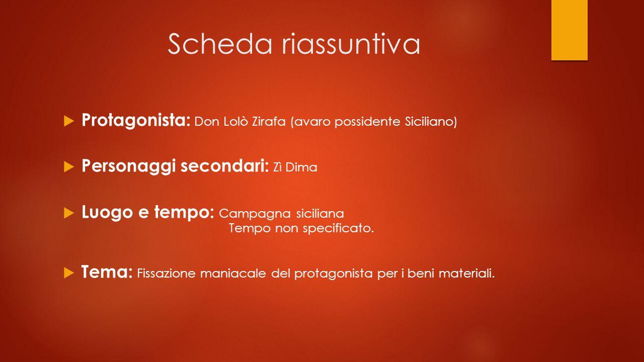 Scheda riassuntiva Protagonista: Don Lolò Zirafa (avaro possidente Siciliano) Personaggi secondari: Zì Dima.