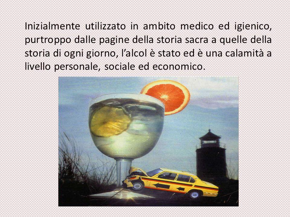 Inizialmente utilizzato in ambito medico ed igienico, purtroppo dalle pagine della storia sacra a quelle della storia di ogni giorno, l'alcol è stato ed è una calamità a livello personale, sociale ed economico.