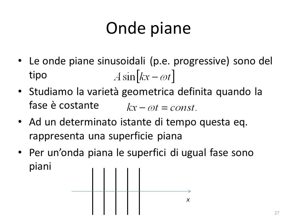 Onde piane Le onde piane sinusoidali (p.e. progressive) sono del tipo
