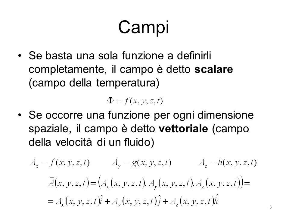Campi Se basta una sola funzione a definirli completamente, il campo è detto scalare (campo della temperatura)