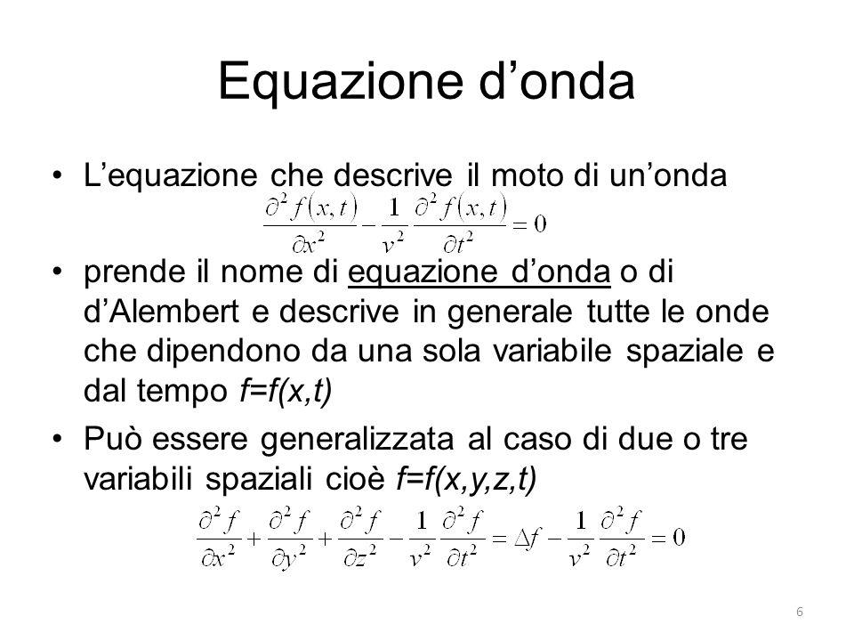 Equazione d'onda L'equazione che descrive il moto di un'onda