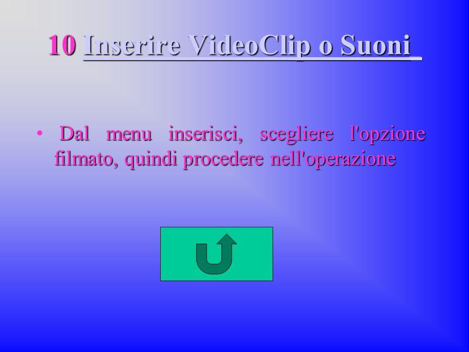 10 Inserire VideoClip o Suoni