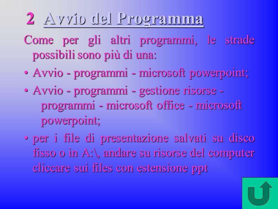 2 Avvio del Programma Come per gli altri programmi, le strade possibili sono più di una: Avvio - programmi - microsoft powerpoint;