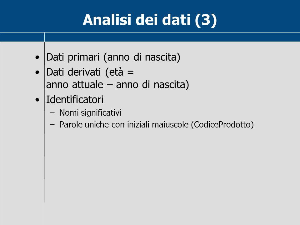Analisi dei dati (3) Dati primari (anno di nascita)