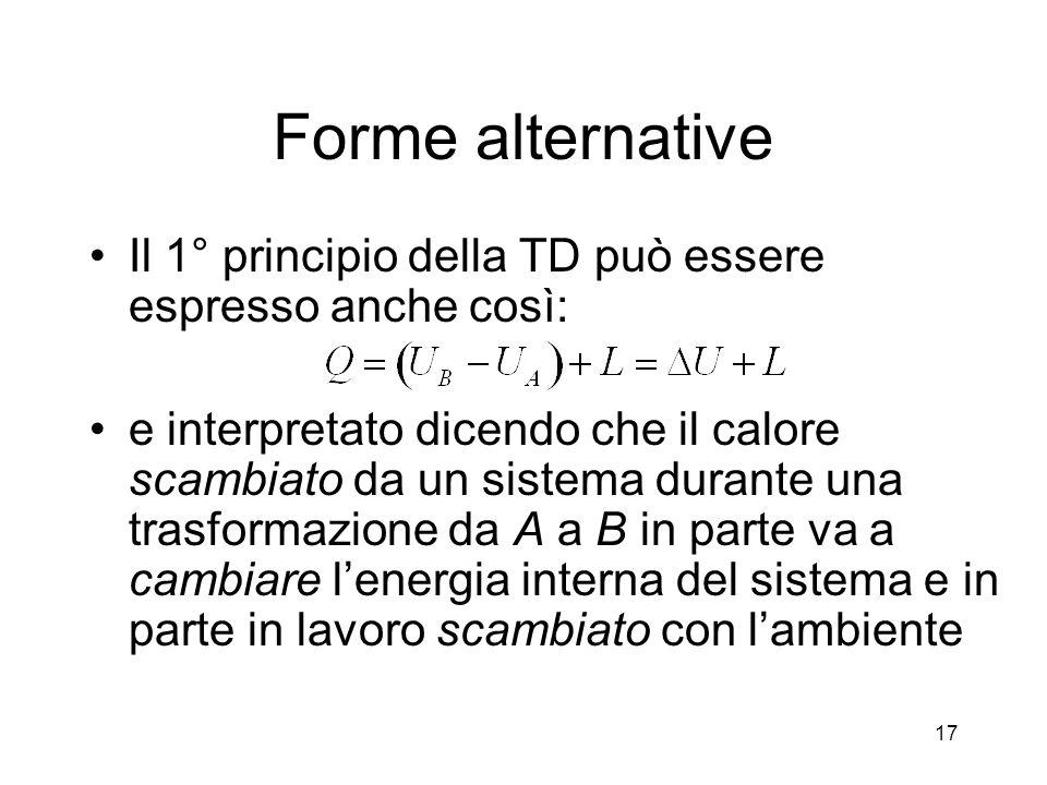 Forme alternative Il 1° principio della TD può essere espresso anche così: