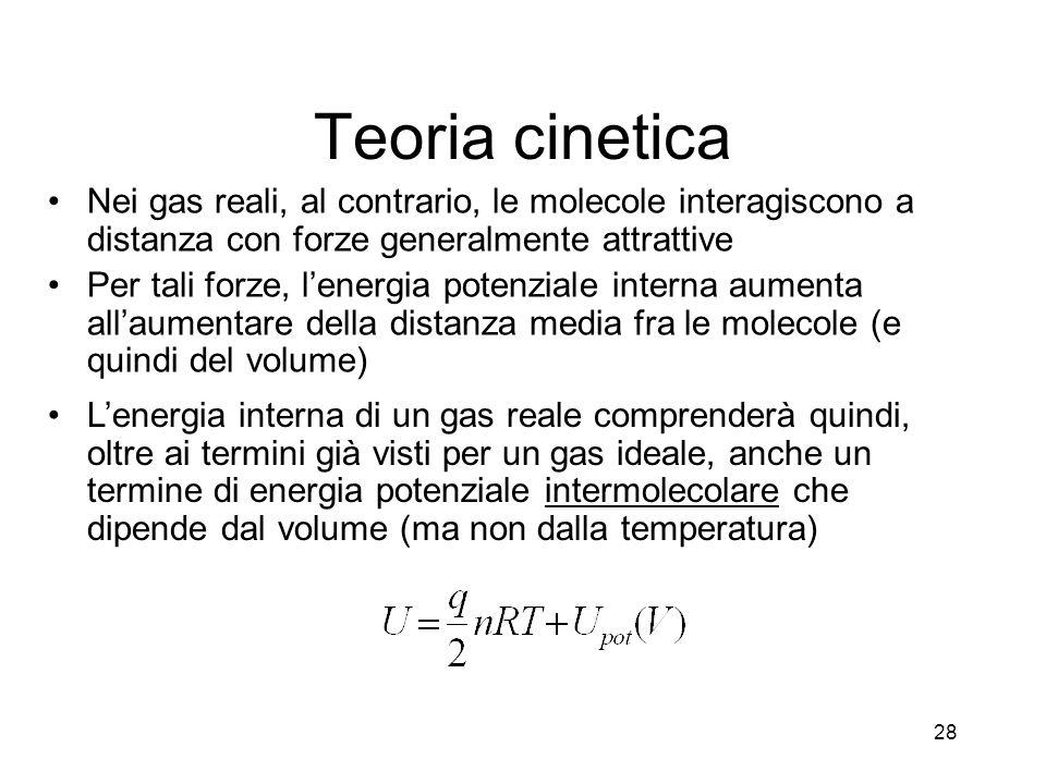 Teoria cinetica Nei gas reali, al contrario, le molecole interagiscono a distanza con forze generalmente attrattive.