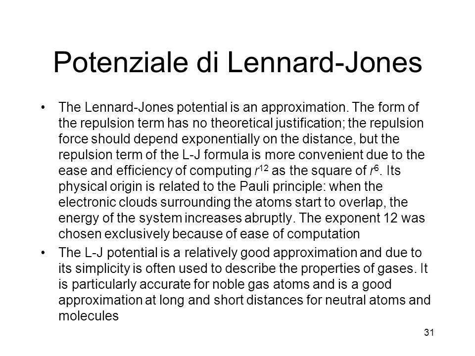 Potenziale di Lennard-Jones