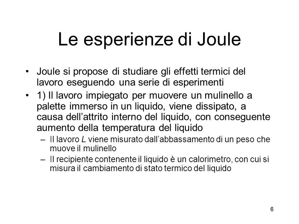 Le esperienze di Joule Joule si propose di studiare gli effetti termici del lavoro eseguendo una serie di esperimenti.