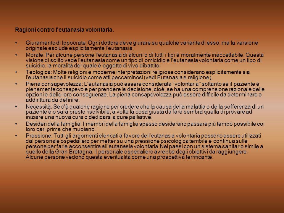 Ragioni contro l eutanasia volontaria.