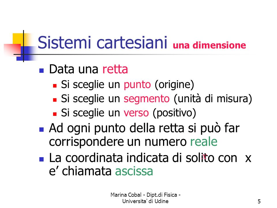 Sistemi cartesiani una dimensione
