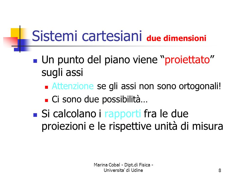 Sistemi cartesiani due dimensioni
