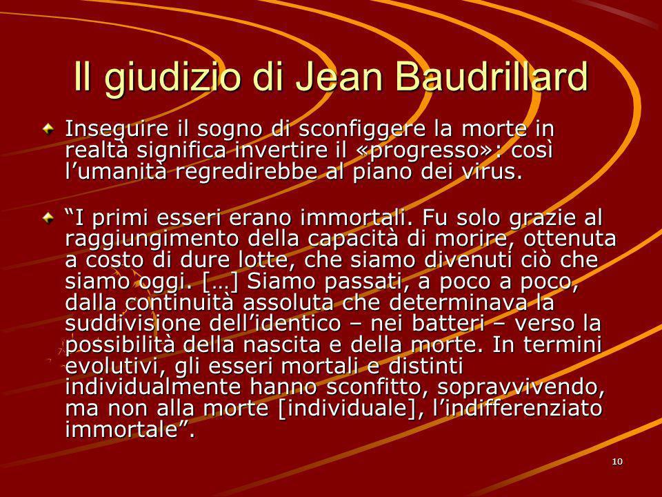 Il giudizio di Jean Baudrillard