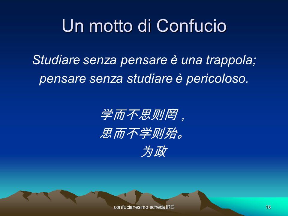 Un motto di Confucio Studiare senza pensare è una trappola;