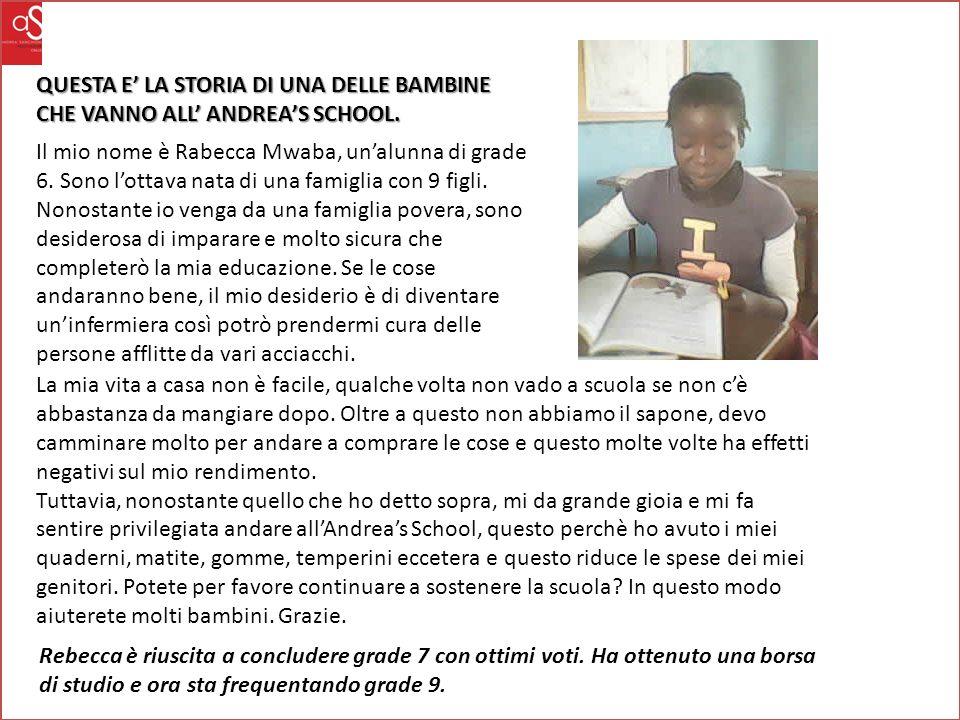 QUESTA E' LA STORIA DI UNA DELLE BAMBINE CHE VANNO ALL' ANDREA'S SCHOOL.