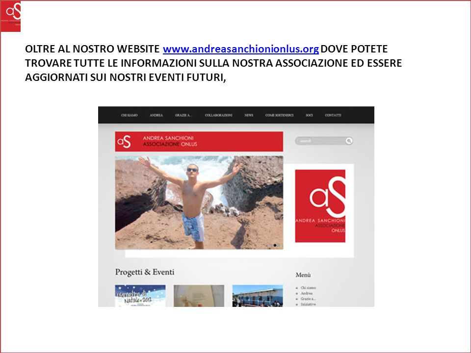 OLTRE AL NOSTRO WEBSITE www. andreasanchionionlus