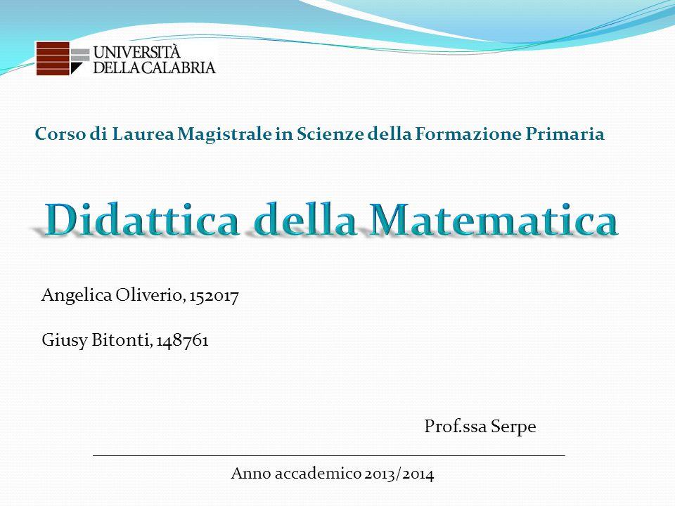 Corso di Laurea Magistrale in Scienze della Formazione Primaria