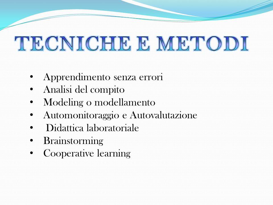 TECNICHE E METODI Apprendimento senza errori Analisi del compito